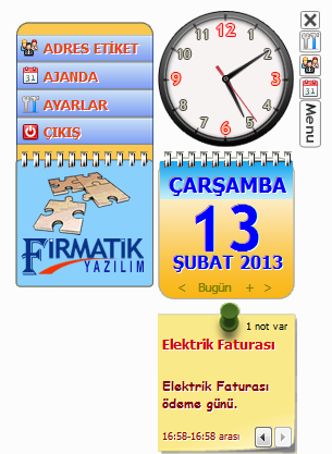 Saat Ajanda Adres Etiket Programı ekran resmi